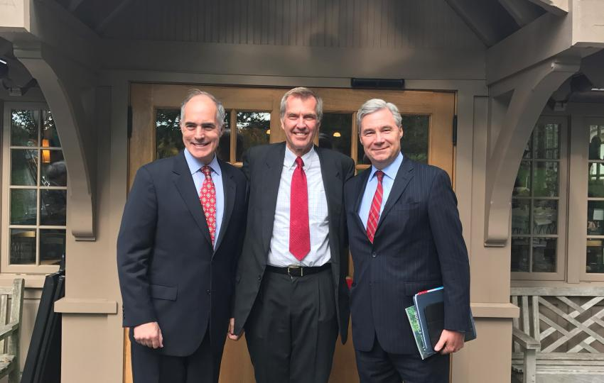 A panel discussion on Climate Change and its Effects on Children was held at Morris Arboretum of the University of Pennsylvania on Monday, October 24th, 2016. Shown in front of Morris Arboretum's Visitor Center are (left to right) US Senator Bob Casey, The F.Otto Haas Executive Director of Morris Arboretum of the University of Pennsylvania Paul Meyer, and Senator Sheldon Whitehouse.